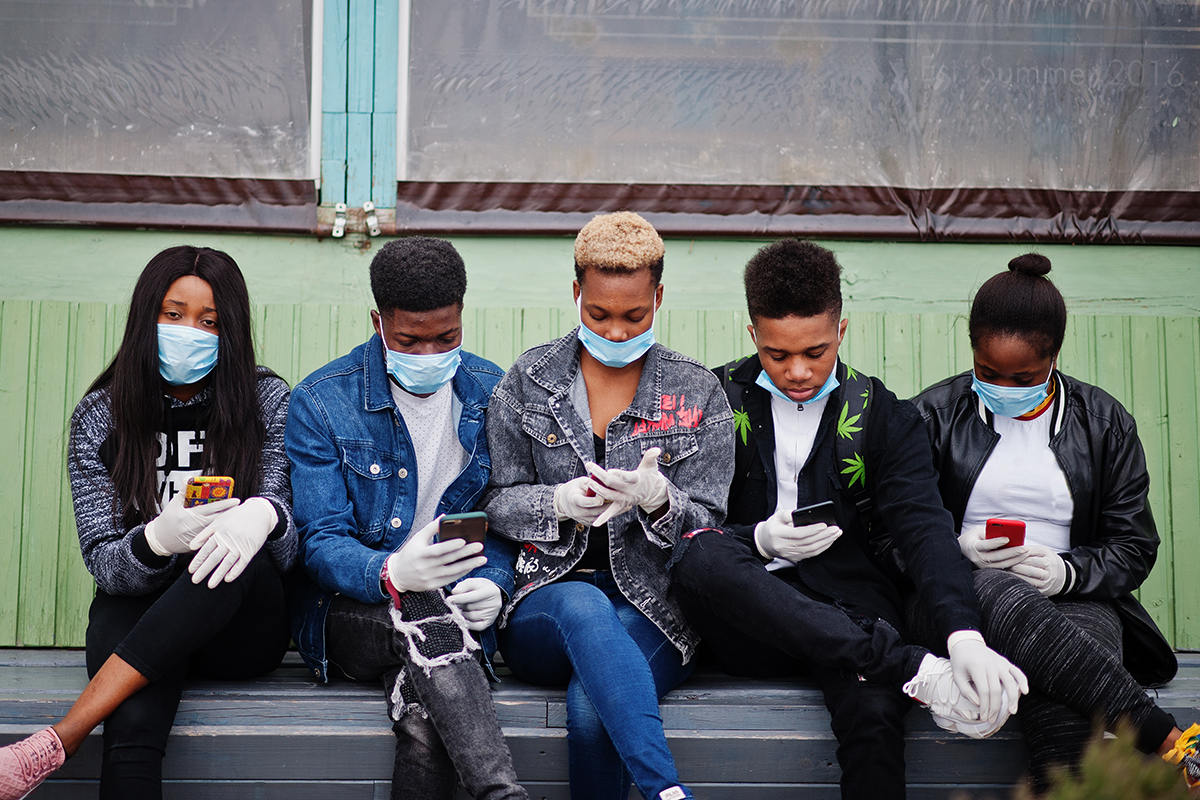 Young Africans wearing medical masks to protect from infections and diseases coronavirus virus quarantine.